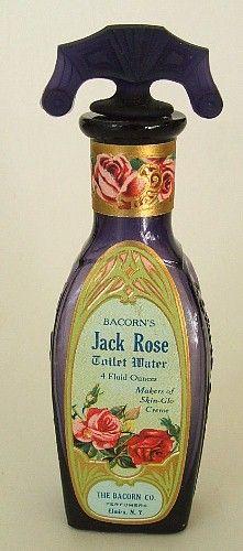 EXQUISITE antique JACK ROSE deep purple PERFUME bottle w/ORIGINAL glass stopper