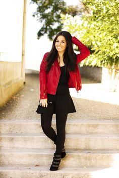 perfecto rouge, red, black, jupe patineuse, boots, mango, Zara, fashion, fashionblog