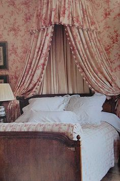 To awaken to cream & red Toile in a French Country Bed Canopy, would be such a treat ! French Country Bedrooms, French Country Decorating, Home Bedroom, Bedroom Decor, Bedroom Ideas, Beach Bedding Sets, Comforter Sets, King Comforter, Beautiful Bedrooms