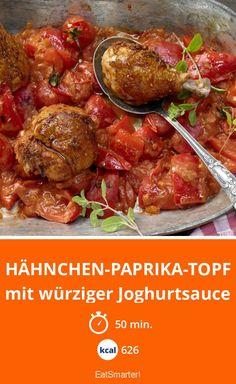 Hähnchen-Paprika-Topf mit würziger Joghurtsauce