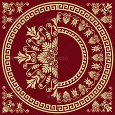 Vector Vintage Gold Greek Ornament (Meander)  #GraphicRiver         Set of two Traditional vintage golden square and round Greek ornaments (Meander) and floral pattern on a red background.  	         	 More backgrounds, ornaments, seamless patterns for you:  	      Created: 5November13 GraphicsFilesIncluded: JPGImage #VectorEPS Layered: Yes MinimumAdobeCSVersion: CS Tags: ancient #antique #background #beautiful #border #classic #decorative #design #drawing #floral #flower #gold #greek…