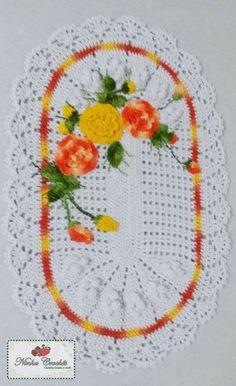Tapete oval com flores e folhas | Ninha Crochês | Elo7