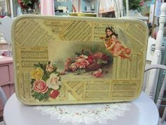 Hand Decoupaged Shabby Sweet Vintage Suitcase...Shabby Pink Roses...Cherubs. $128.00, via Etsy.
