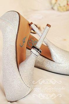 Wedding rings on bride heels