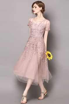 $93.99 Pink Round Neck Short Sleeves Embroidered Tulle Dress