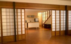 Number of rooms in the house certainly makes you think about room divider. Some people think about unusual room divider, yet are interesting. Shoji sliding doors or Japanese sliding doo Cheap Room Dividers, Sliding Room Dividers, Sliding Door Design, Room Divider Doors, Diy Room Divider, Divider Ideas, Sliding Wall, Door Dividers, Sliding Panels
