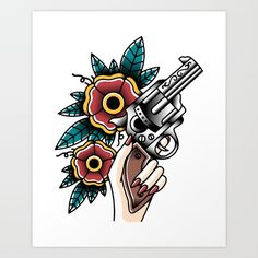 Traditional gun tattoo flash.