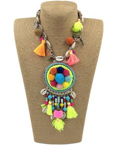 2017 new Boho handmade chokers Necklace Bohemian colorful pompous pendants necklace collier women sea Beach tassel charm