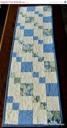 Blue and White Patchwork Table Runner by PatsPassionQuilteds Another easy table runner with no needed pattern. Quilted Table Runners Christmas, Patchwork Table Runner, Table Runner And Placemats, Table Runner Pattern, Christmas Tables, White Runners, Quilted Table Toppers, Country Quilts, Bed Runner