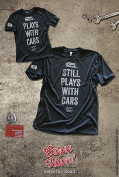 "The NEW ""Plays with Cars"" tshirt set for car lovers."