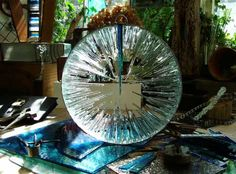 Mirrored stainless #steel. float #glass #sculpture by #sculptor Jane Bohane titled: 'Shattered Lens (Modern Circular Glass Garden statue)'. #JaneBohane