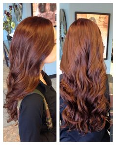 Brown red, auburn, hair color with soft curls