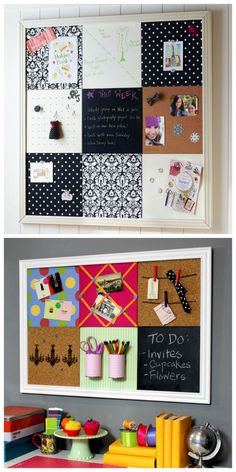 DIY Pottery Barn Teen Knockoff Bulletin Board Tutorial from Jonathan Fong. This is a practical yet fun modular DIY Bulletin Board inspired by Pottery Barn Teen. Using just cork board and galvanized steel (from the hardware store), you can have a bulletin board with cork, storage, magnetic, chalkboard (chalkboard contact paper), and ribbon tiles. Top Photo: $414 Pottery Barn Teen Black Damask Style Tile 2.0 Set. Bottom Photo: DIY by Janathan Fong. For more DIY Bulletin Boards g...