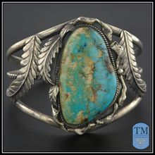 Spectacular Vintage Native American Massive Cuff Stone Sterling
