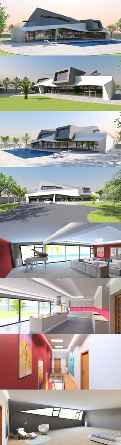 Reflecting the current architectural trend towards deconstruction, this highly unique home offers four en-suite bedrooms giving access to extended balconies on either side, a triple attached garage and flexible contemporary living space. The floor-to-ceiling glazing is recessed to avoid excess solar insolation in hot climates. Suitable for steel frame construction, the ground floor is finished in white render, while the first floor is metal clad.