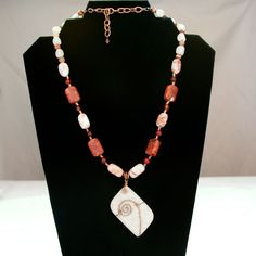 White Magnesite and Copper Wire Gemstone Necklace w/ Redline Marble, Red Agate, Red Coral, Red Italian Onyx, White Feldspar andCopper Chain by AngelaRoseGems on Etsy