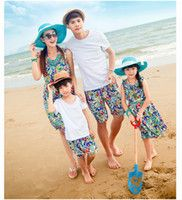SG627-Family Look Family Matching clothes For Mother And Daughter Father And Son Summer Cotton Bohemia Beach Dress And Suits