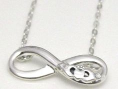 925 Sterling Silver Infinity Knot Pendant Necklace with Irish Claddagh Symbol | eBay
