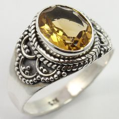 Ethnic Design Ring Size US 7.5 Real CITRINE Gemstone 925 Solid Sterling Silver #SunriseJewellers #Fashion