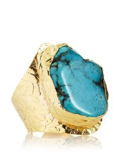 Charlene K Blue Turquoise Cigar Ring,