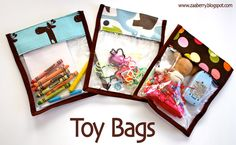 Sewing Pattern for Toy Bags (or busy bags) Sewing Toys, Baby Sewing, Free Sewing, Sewing Crafts, Sewing Projects, Craft Projects, Sewing Hacks, Sewing Tutorials, Sewing Patterns