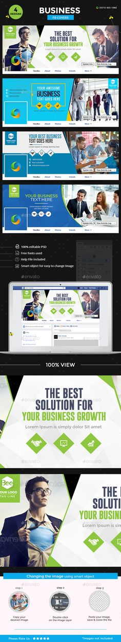 Business Facebook Covers - 4 Designs Templates PSD. Download here: http://graphicriver.net/item/business-facebook-covers-4-designs/16093637?ref=ksioks