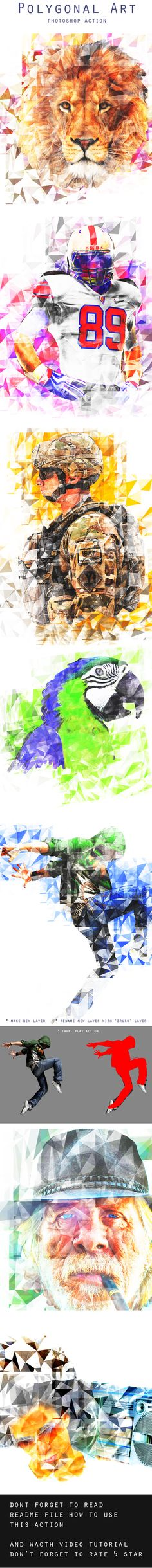 Polygonal Art Photoshop Action #photoeffect Download…
