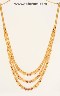 Totaram Jewelers: Buy 22 karat Gold jewelry & Diamond jewellery from India: Gold Long Necklace with Rubies 1 Gram Gold Jewellery, Gold Jewellery Design, Gold Jewelry, Diamond Jewellery, Gold Bangles, Gold Necklaces, Necklace Designs, Fashion Jewelry, Indian