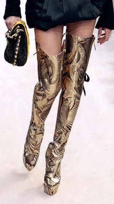 Louis Vuitton Gold Brocade Thigh High Boots ❦   Whaaaatttt?! Only LV can make trashy so chic