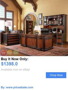 Office Furniture: Double Pedestal Executive Office Desk Two Tone Wood New BUY IT NOW ONLY: $1398.0 #priceabateOfficeFurniture OR #priceabate