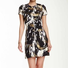 """Love...Ady Modified Sheath Dress Love...Ady Modified Sheath Dress -Can be dressed up or down. Black with white and gold """"paint brush strokes.""""  -Bust: 16"""" , Waist: 14"""",  Hips: 17"""", Shoulder to hem: 34.5"""".  -97% Polyester, 3% Spandex. 📷: nordstrom.com & inna_lala 🎗HP 6/24 Love...Ady Dresses Mini"""