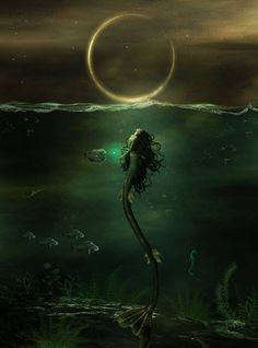 mermaid, moon, night, ocean