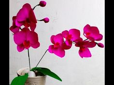 How to make Easy Paper Flowers Orchid Phalaenopsis / Moth Orchid (flower # 91) - YouTube