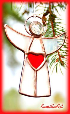 White angel, gift for mom, stained glass, Valentine's day gift, glass angel, love angel, angel suncatcher, angel ornament