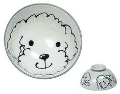 Japanese Ceramic Poodle Design Rice Bowl 4.5 inch x 3 inch