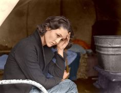 This is a colorized version of Dorthea Lange's 1937 photograph of an 18 year old mother from Oklahoma in a California migrant workers camp. The colorization seems to magnify the harshness of her life, i.e. her hand and the vacant sadness of her eyes.  You can't help but wonder if her life improved with the lifting of the depression. What happened with her children and grandchildren?