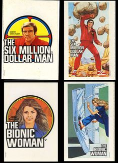 Bionic Woman - Six Million Dollar Man - Cereal Premium Stickers - 1973 by JasonLiebig, via Flickr
