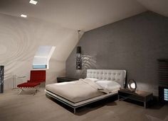 Attic bedroom with mirror wardrobe and main bathroom , Lodz, 2012 - meinDESIGN