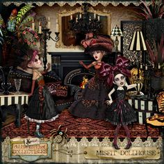 Misfit Dollhouse Collectibles @ Mischief Circus. A digital image kit for your art, mixed media, collage, ATCS, photo manipulation and scrapbooking.