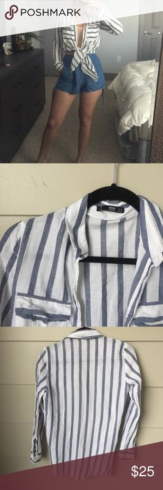 MNG button down Love button down shirts. This one is incredibly soft and such a cute stripe pattern with opposite stripes on the breast pockets. Size XS and in perfect condition. Mango Tops Button Down Shirts