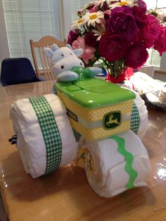 Diaper tractor for my daughter's new baby!