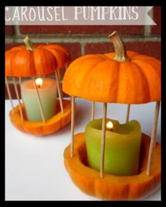 DIY Carousel Pumpkins--this makes me think of Cinderella...maybe i'd do this for a fairytale wedding