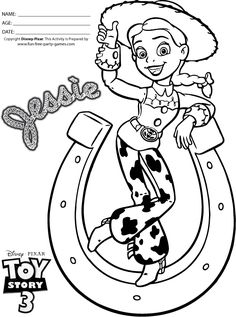 Toy Story 3 Coloring Pages: Jessie the Cowgirl in Horseshoe Tipping her Hat!