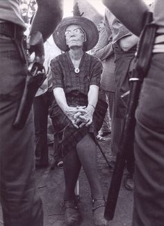 76-year-old Catholic anarchist Dorothy Day on a picket line shortly before being arrested, California, 1973.