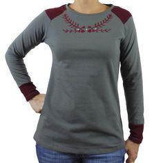 Camiseta algodon mujer bordado granate