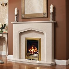 Aurelia Micro Marble Surround - Shown in Pearl Stone micro marble with a Be Modern Athena Black electric fire.