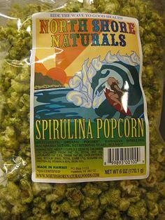 North Shore Naturals Spirulina Popcorn - hm, but does it TASTE like spirulina? Vegan Chips, Spirulina Powder, Vegan Snacks, North Shore, Popcorn, Vegan Appetizers