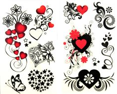 latest LW hot selling 1 package with 2pcs waterproof red heart black star flower and butterfly temporary tattoos [XPWS1002] - $3.99 - GGSell...