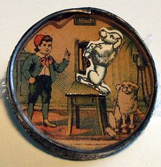 Antique poodle on chair dexterity puzzle,c.1920's, Germany, collection of Barbara Levine