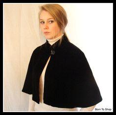 vintage velvet cape / capelet / short cape, 1990s, Victorian, Steampunk, Goth, boho, size Small by BornToShopVintage on Etsy